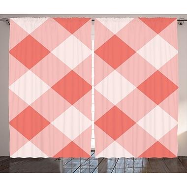 East Urban Home Plaid Geometrical Room Darkening Rod Pocket Curtain Panels (Set of 2); 54'' x 90''