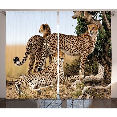 East Urban Home Cheetahs Wildlife Decor Room Darkening Rod Pocket Curtain Panels (Set of 2)
