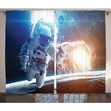 Spaceman in Galaxy D cor Graphic Print Room Darkening Rod Pocket Curtain Panels (Set of 2)
