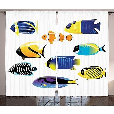 East Urban Home Surgeonfish Decor Wild Life Room Darkening Rod Pocket Curtain Panels (Set of 2)
