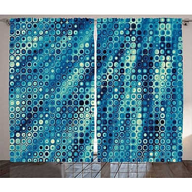 East Urban Home Little Geometric Abstract Room Darkening Rod Pocket Curtain Panels (Set of 2)