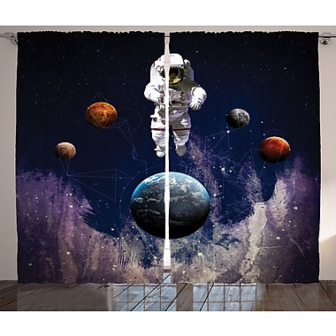 East Urban Home Astronaut D cor Graphic Print Room Darkening Rod Pocket Curtain Panels (Set of 2)