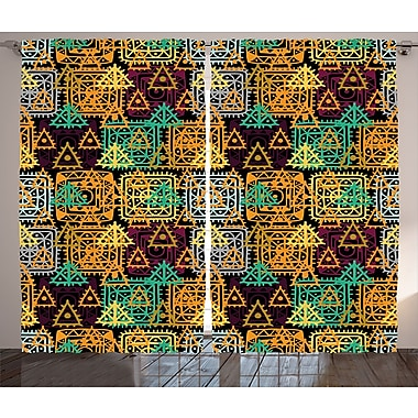 Triangles and Inner Dots Decor Abstract Room Darkening Rod Pocket Curtain Panels (Set of 2)