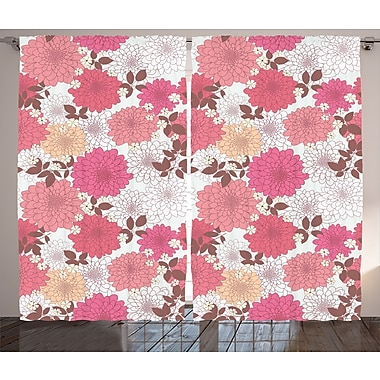 East Urban Home Blossoms Decor Nature / Floral Room Darkening Rod Pocket Curtain Panels (Set of 2)