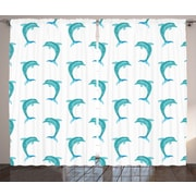 East Urban Home Dolphins Decor Nautical Room Darkening Rod Pocket Curtain Panels (Set of 2)