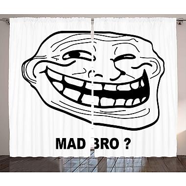 Mad Bro Decor Graphic Print and Text Room Darkening Rod Pocket Curtain Panels (Set of 2)
