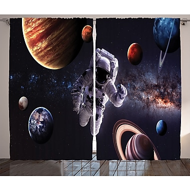 Astronaut Between Planets D cor Graphic Print Room Darkening Rod Pocket Curtain Panels (Set of 2)