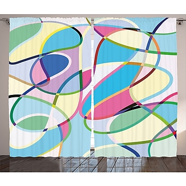 East Urban Home Mix of Drawings Decor Abstract Room Darkening Rod Pocket Curtain Panels (Set of 2)