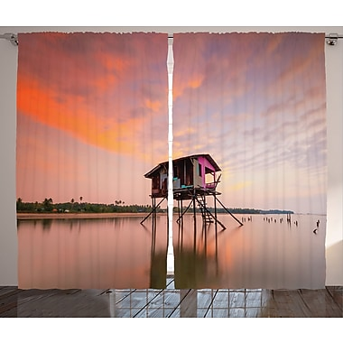 House at Sunset Rustic Home Decor Graphic Print Room Darkening Rod Pocket Curtain Panels (Set of 2)
