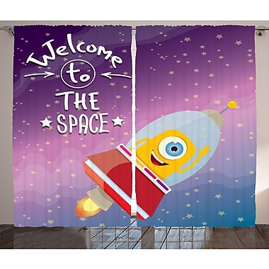 Welcome to The Space D cor Graphic Print Room Darkening Rod Pocket Curtain Panels (Set of 2)