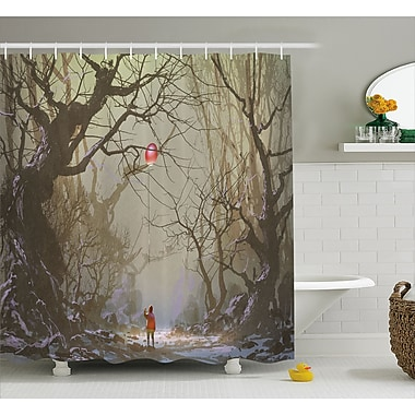 East Urban Home Boy Looking Up Red Balloon Decor Shower Curtain; 69'' H x 84'' W