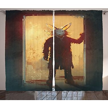 Man w/ Rabbit Mask Decor Graphic Print Room Darkening Rod Pocket Curtain Panels (Set of 2)