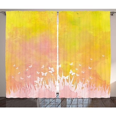 East Urban Home Spring Meadow Abstract Room Darkening Rod Pocket Curtain Panels (Set of 2)