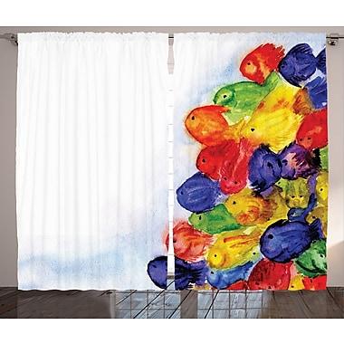East Urban Home Small Fishs Room Darkening Rod Pocket Curtain Panels (Set of 2); 54'' x 84''