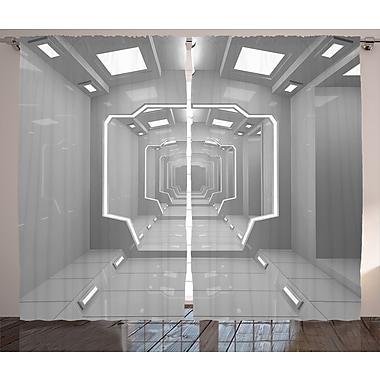 Travel to Planet D cor Graphic Print Room Darkening Rod Pocket Curtain Panels (Set of 2)