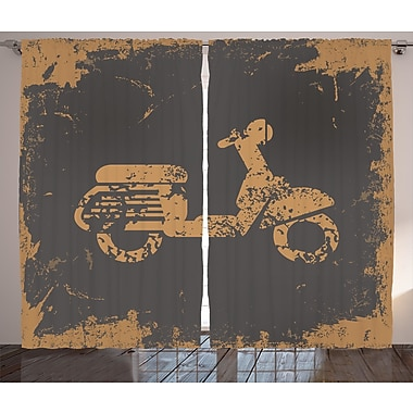 East Urban Home Retro Motorcycle Graphic Print Room Darkening Rod Pocket Curtain Panels (Set of 2)