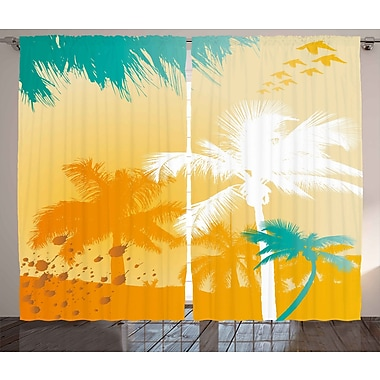 East Urban Home Palms Tropical Nature/Floral Room Darkening Rod Pocket Curtain Panels (Set of 2)