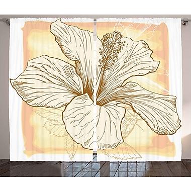 East Urban Home Large Hibiscus Room Darkening Rod Pocket Curtain Panels (Set of 2); 54'' x 84''