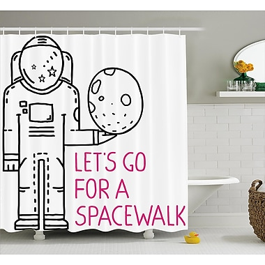 East Urban Home Space Walk Quote Decor Shower Curtain; 69'' H x 84'' W