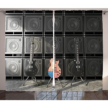 East Urban Home Guitar Decor Graphic Print Room Darkening Rod Pocket Curtain Panels (Set of 2)
