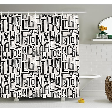 East Urban Home Artsy Grunge Letters Decor Shower Curtain; 69'' H x 75'' W