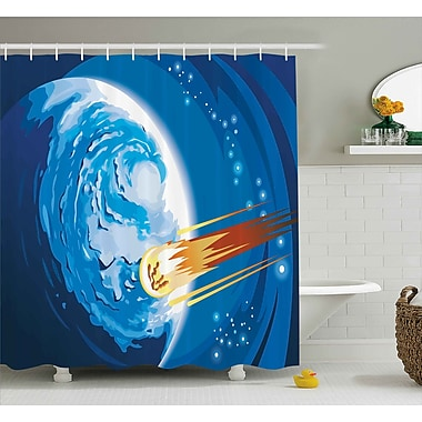 East Urban Home Space Comet Shower Curtain; 69'' H x 70'' W