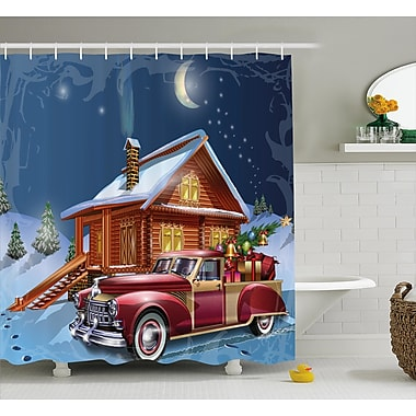 East Urban Home Wooden Lodge w/ Truck Shower Curtain; 69'' H x 70'' W