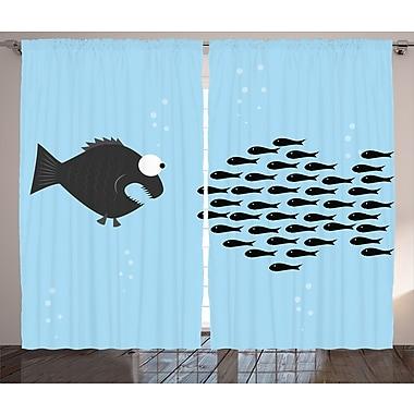 Little Fish Crew and Big Fish Decor Wildlife Room Darkening Rod Pocket Curtain Panels (Set of 2)