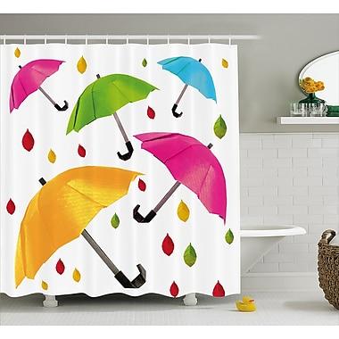 East Urban Home Umbrella w/ Leaf Droplets Decor Shower Curtain; 69'' H x 70'' W