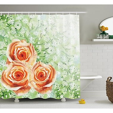 East Urban Home Roses on Grass Decor Shower Curtain; 69'' H x 75'' W