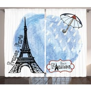 East Urban Home Eiffel Tower Decor Room Graphic Print Darkening Rod Pocket Curtain Panels (Set of 2)