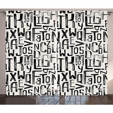 East Urban Home Decor Text Room Darkening Rod Pocket Curtain Panels (Set of 2); 54'' x 84''