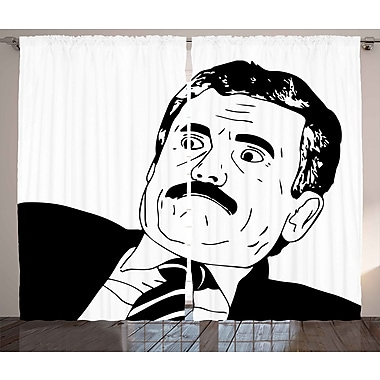 Rage Guy Humor Decor Graphic Print Room Darkening Rod Pocket Curtain Panels (Set of 2)