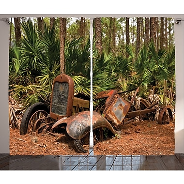 Tractor Rustic Home Decor Graphic Print Room Darkening Rod Pocket Curtain Panels (Set of 2)