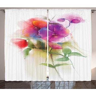 East Urban Home Watercolor Ivy Flower Home Decor Room Darkening Rod Pocket Curtain Panels (Set of 2)