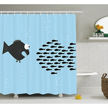 East Urban Home Little Fish Crew and Big Fish Decor Shower Curtain; 69'' H x 84'' W