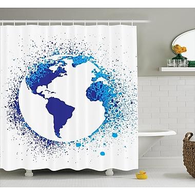 East Urban Home Globe w/ Ink Splatter Decor Shower Curtain; 69'' H x 70'' W