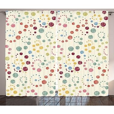 East Urban Home Polka Dots Decor Abstract Room Darkening Rod Pocket Curtain Panels; 54'' x 90''