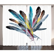 Quill Pen Feather Decor Graphic Print Room Darkening Rod Pocket Curtain Panels (Set of 2)