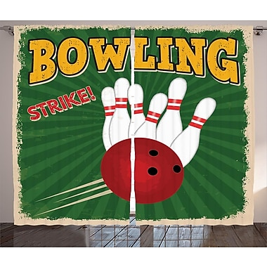 Bowling Strike Graphic Print and Text Room Darkening Rod Pocket Curtain Panels (Set of 2)
