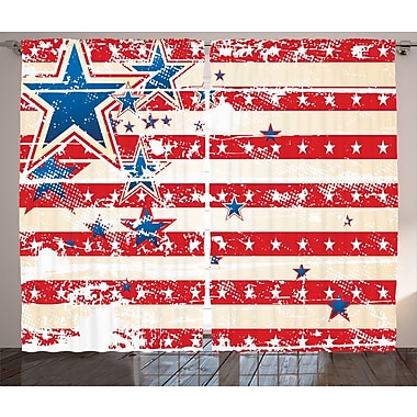 USA National Star Decor Graphic Print Room Darkening Rod Pocket Curtain Panels (Set of 2)