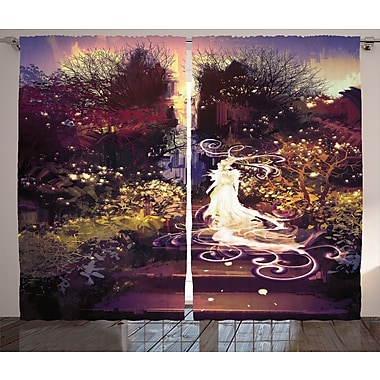 Lady Goddess On Stair Decor Graphic Print Room Darkening Rod Pocket Curtain Panels (Set of 2)