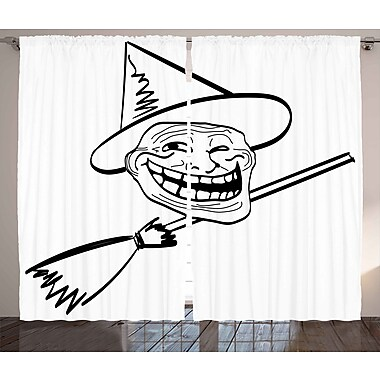 Witch Guy Humor Decor Graphic Print Room Darkening Rod Pocket Curtain Panels (Set of 2)