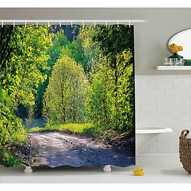 East Urban Home Trees along The Road Shower Curtain; 69'' H x 84'' W