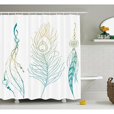 East Urban Home Feather and Peacock Tail Decor Shower Curtain; 69'' H x 84'' W