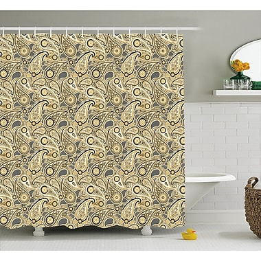 East Urban Home Flowers Leaves w/ Stripes Decor Shower Curtain; 69'' H x 75'' W