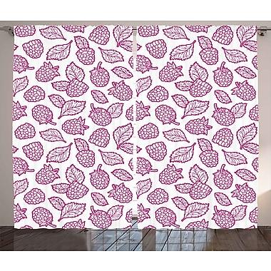 East Urban Home Raspberry Nature / Floral Room Darkening Rod Pocket Curtain Panels (Set of 2)