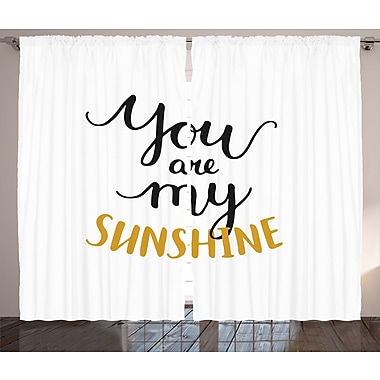 Quotes Decor Graphic Print and Text Room Darkening Rod Pocket Curtain Panels (Set of 2)