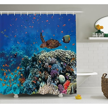 East Urban Home Fish and Turtle Decor Shower Curtain; 69'' H x 75'' W