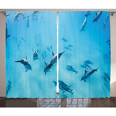 East Urban Home Dolphins Wildlife Room Darkening Rod Pocket Curtain Panels (Set of 2); 54'' x 84''
